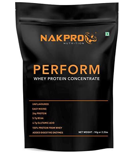 NAKPRO PERFORM Whey Protein Concentrate - 24g Protein, 5.7g BCAA & 4.7g Glutamine helps build your Muscle size. Added Digestive Enzymes, Easy Mixing, Low Carbs, Easy Digesting, Fast Absorbing Raw Whey Protein Supplement Powder for Men, Women & Athletes - 1 Kg Unflavoured - (30 Servings)