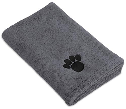Bone Dry Embroidered Pet Towel, 44 x 27.5', Gray
