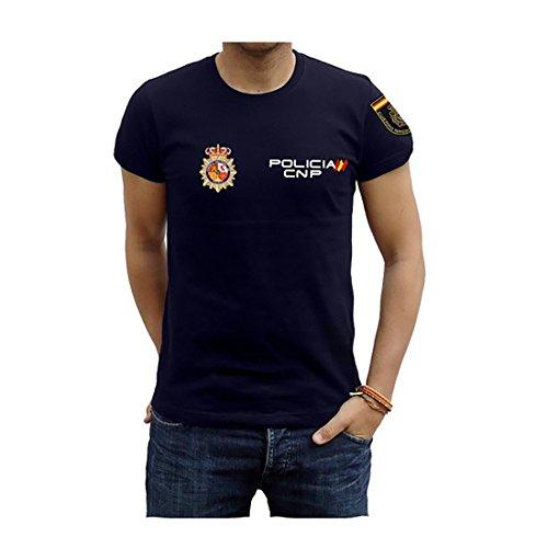 Piel Cabrera Camiseta de policia Nacional (S, Azul Marino)