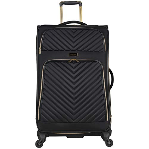 Kenneth Cole Reaction Women's Chelsea 28' Softside Chevron Quilted Expandable 4-Wheel Spinner Checked Suitcase, Black