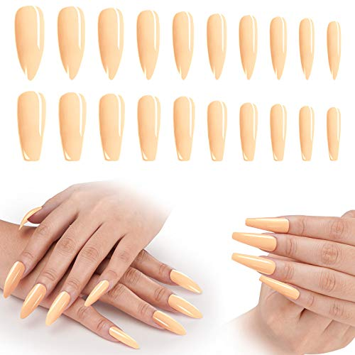 Almond Shaped Press On Nails Long, 200PCS Cosics Glossy Nude Acrylic Nails Coffin Shape & Stiletto, Pre-colored False Nails Full Cover Tips with Storage Container for Wedding, Christmas Nail Art DIY