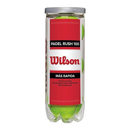 Wilson Rush 100, Palline da Padel, Confezione da 3, Compatibili con Ogni Tipo di Campo, WRT136500...