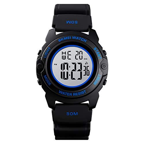 Children's Day Gift Watch Waterproof Watch Digital Sport Kids Watch PU Band (Blue)