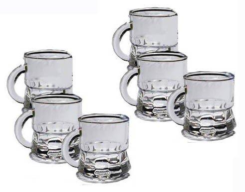 takestop Set 6 Bicchierini da LIQUORE con Manico Mini Boccale CICCHETTI CICCHETTO Shot Rum Vodka in Vetro Bicchiere CHUPITOS
