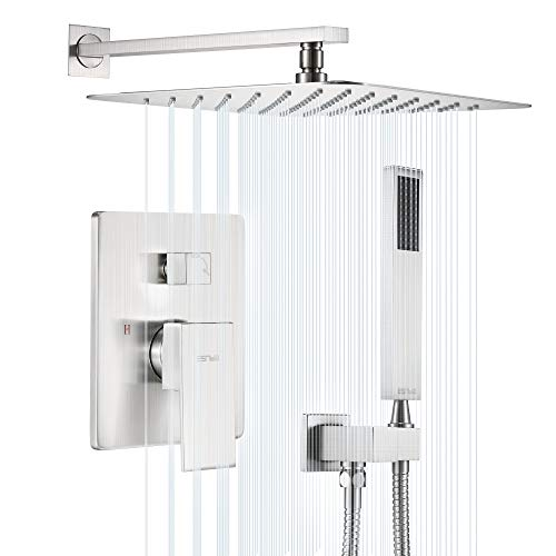 """Esnbia Shower System, Brushed Nickel Shower Faucet Set with Valve and 12"""" Rain Shower Head Systems Wall Mounted Shower Combo Set for Bathroom All Metal"""