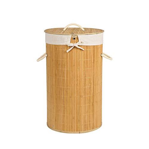 Edaygo Wäschekorb Wäschesammler Bambus mit Deckel, ca. 56 Liter, rund, Natur