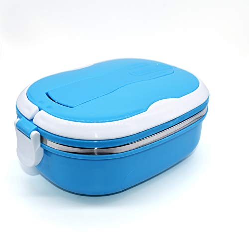 Stainless Steel Insulated Square Lunch Box for Children, Kids and Adult, Portable Picnic Storage Boxes, School Student Food Container with Spoon (Blue)