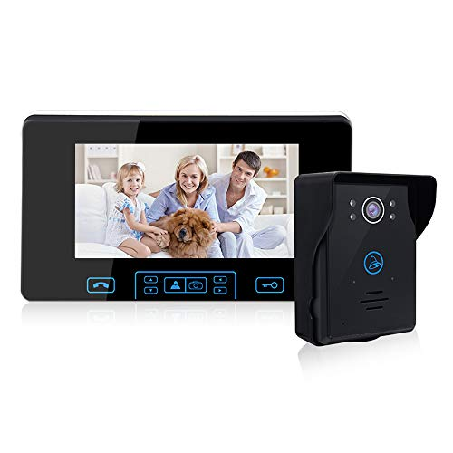 2.4G Wireless Video Door Phone Doorbell Intercom System 7-inch Color Monitor and IR Night Vision Camera Video Doorbell Kits for Home Security,Support Monitoring,Unlock