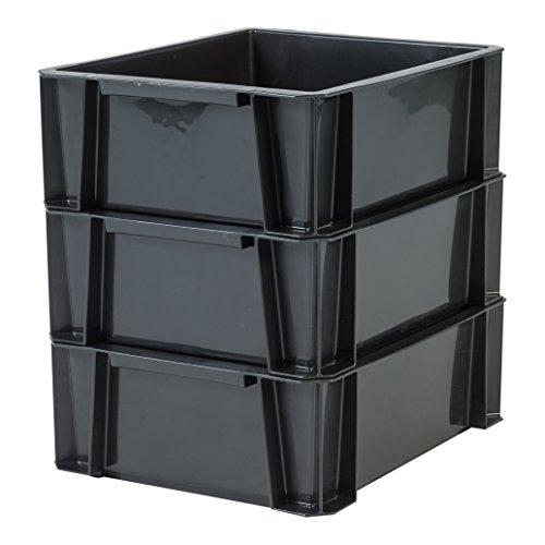 IRIS 135753, 3er-Set stapelbare Lagerkästen / Stapelboxen / Gewerbekisten / Transportboxen \'Stacking Box\', STB-M, Plastik, schwarz, 8 L, 35 x 27,5 x 12 cm