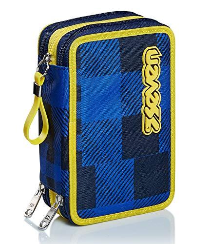 Astuccio 3 Scomparti Seven, Check, Blu, Completo di matite, penne, pennarelli..