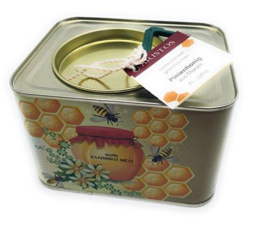 ARISTOS original griechischer Pinienhonig aus Thassos in Griechenland mit kräftigem würzigem Geschmack - 2 kg Kanister kaltgeschleuderter und kaltgepresster ungefilterter reiner Honig ohne Beimischung