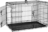AmazonBasics Double-Door Folding Metal Dog Crate Kennel - 36 x 23 x 25 Inches