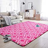 Noahas Soft Area Rugs for Bedroom Living Room Shaggy Patterned Fluffy Carpets for Nursery Baby Rooms Silky Smooth Fuzzy Kids Play Mats Christmas Thanksgiving Holiday Decor Rug, 4ft x 6ft, Hot-Pink