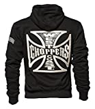 WCC West Coast Choppers Hoodie Cross Panel Zip Black