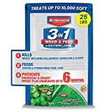 BIOADVANCED 704841 3-in-1 Feed for Southern Weed Killer and Lawn Fertilizer, 25-Pound, Granules