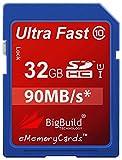 BigBuild Technology 32 Go SD SDHC Ultra Rapide 90 Mo/s Classe 10 Carte mémoire...