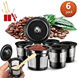 6 Pack Reusable k-Cup Filter, Reusable Refillable Coffee Capsules Filters with 2 Plastic Spoon for Keurig K-Cup (Black)