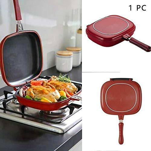 HilMe Doppelseitige Pfanne, quadratische Omelette-Tabletts mit Antihaftbeschichtung, zum Backen, Pfannkuchenpfanne, Flip-Grillpfanne für Zuhause und Küche, nicht null, siehe abbildung, Free Size