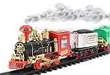 Remote Control Train Set Battery Operated Choo Choo Classical RC Train W/ LED Lights , Real Smoke ,Sound (Classical)