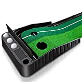 Mibril パターマット ゴルフ練習パット ボール止め パッティングマット スイング練習 自動返球 高品質人工芝 パター技術向上 折り畳み 収納しやすい(幅30cm×長さ3m,プレート付き)