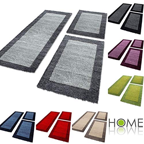 HomebyHome - Tappeto Shaggy per camera da letto, a pelo lungo, 3 pezzi, talpa, 2 mal 80x150 + 1 mal...
