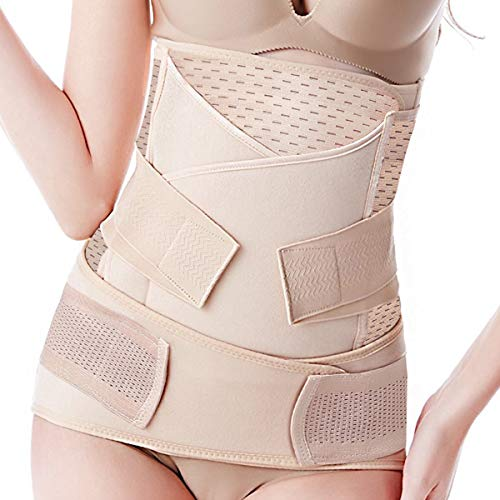 Postpartum Belly Band 3 Belts in 1, Postnatal Wrap Post C Section Recovery Girdle Binder Nude
