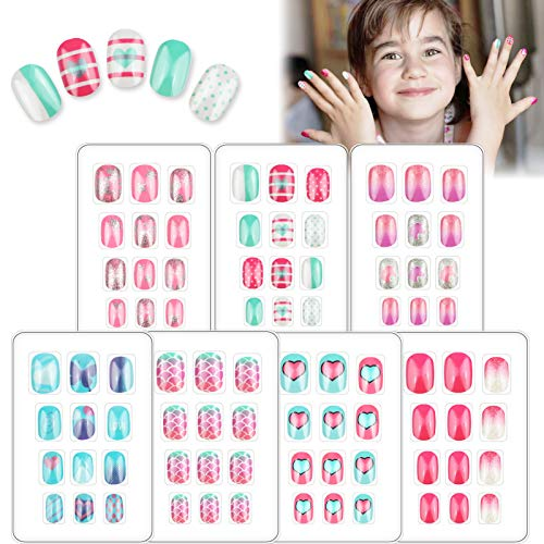 84 PCS Children Press on Nails Fake Nails for Kids Glue-On Cute Short Glitter Gradient Color False Nail Kit Full Cover Artificial Rainbow Mermaid Decoration Christmas for Little Girls Manicure 7 Pack