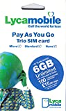 PrePaid Europe (UK Lycamobile) 30 Days 6GB SIM Card with Unlimited Mins/Texts and 100 International Minutes to Call USA/Canada and Free Roaming in All EU Countries