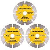NYTiger 3 Pack 4-1/2 inch Diamond Saw Blades 4.5' Angle Grinder Disc Wet Dry Segmented Cutting Wheel with 4/5-5/8 inch Arbor for Concrete Stone Brick Block Masonry