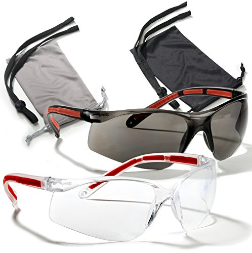 Safety Glasses Eye Protection - Comfort Eyewear - 2 Pair, 2 Neck Cords, 2 Cases - SuperLite and SuperClear Lens Technology, Z87.1 - CE 166 Certified…