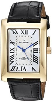 Peugeot Men's Vintage Rectangular 14K Gold Plated Wrist Watch with Matching Leather Strap Band