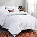 Bedsure White Down Alternative Comforter Queen- All Season Quilted Lightweight Comforter Full Duvet Insert with Corner Tabs 300GSM Plush Microfiber Fill Machine Washable