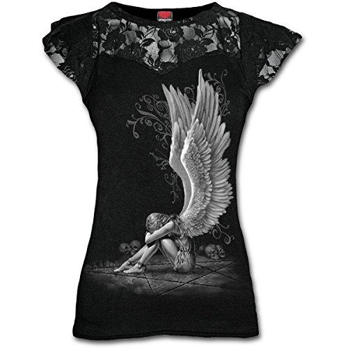 Spiral Direct Damen Enslaved Angel-Lace Layered Cap Sleeve Top...
