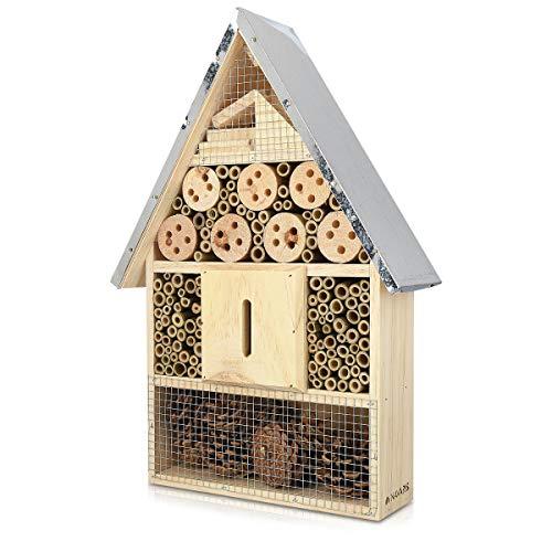 Navaris Hôtel à Insecte Bois - Cabane abri XL 40 x 23 x 7 cm - Maisonnette Refuge Toit métal Abeille Coccinelle Papillon et Autres Insectes Volants