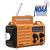 NOAA Weather Radio for Household Outdoor Emergency - Portable AM/FM SW Radio, 5 Way Powered Solar/Hand Crank/2000mAh Rechargeable Power Bank/USB Charger, LED Flashlight, Reading Lamp, Compass, Strap