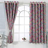 HouseLookHome Baby Thermal Insulating Window Drapes,Kawaii Bunnies Ice Cream and Candies Doodle Style Cartoon Drawing Abstract Grommet Curtains for Living Room W97 x L72 Inch Pink Turquoise Mustard