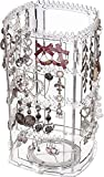 Cq acrylic 360 Rotating Earrings Holder and Jewelry Display Rack,4 Tiers Jewelry Rack Display...
