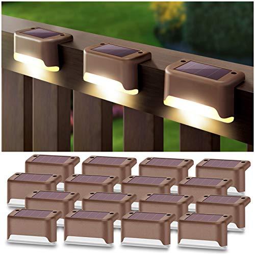 DenicMic Solar Deck Lights 16 Pack Fence Post Solar Lights for...