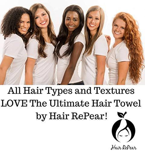 Hair RePear Ultimate Hair Towel for Long Hair - Anti Frizz Premium Cotton Product to Enhance Healthy Natural Hair Perfect for Plopping Wrapping Scrunching Straight Wavy or Curly Hair -21x44in Black 9