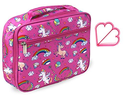 Kids Lunch Box in Pink Unicorn for Girls Insulated Toddler Preschool Kindergarten Lunch Bag Tote by Keeli Kids in Unicorn Pink Rainbow