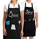 Couple Aprons for Cooking Baking BBQ King & Queen of The Kitchen, ArtStudy Grilling Aprons with Pockets, Engagement Anniversary Newlywed Wedding Valentines Bridal Shower Gift (Set of 2)