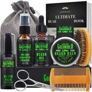 Beard Kit,Beard Growth Kit,Beard Grooming Kit,w/Beard Foam/Shampoo/Wash,Growth Serum,Oil,Balm...