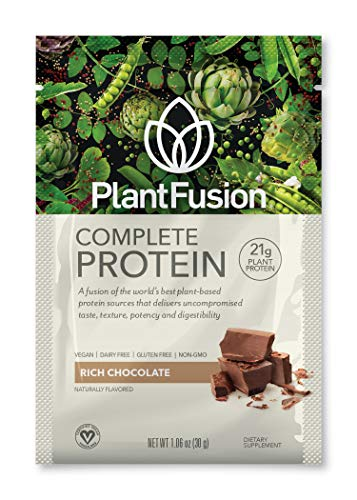 PlantFusion Complete Plant Based Protein Powder, Rich Chocolate, 30 g Single Serving Packets, 12 Count, Gluten Free, Vegan, Non-GMO, Packaging May Vary