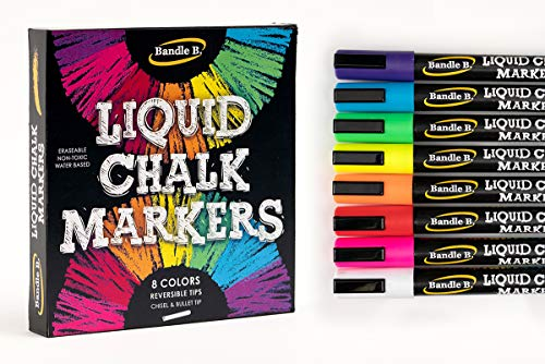 Liquid Chalk Marker Set - 8 Vibrant colors, erasable, non-toxic, water-based, reversible tips, bright colors for kids & adults to create board art for businesses, restaurants, or any occasion
