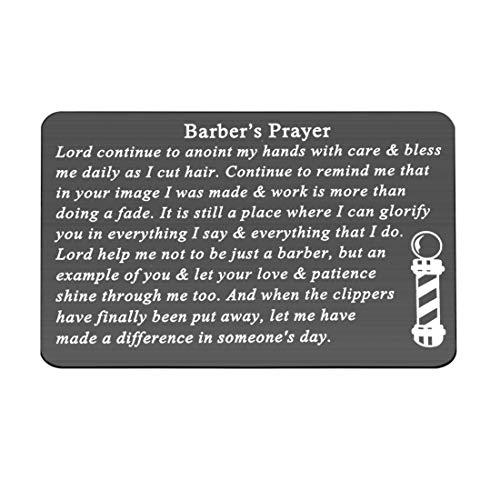 Gzrlyf Barber's Prayer Wallet Card Metal Wallet Insert...