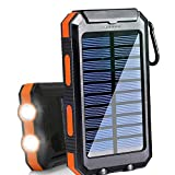 Solar Charger 20000mAh Portable Outdoor Waterproof Mobile Power Bank, Backpack Camping External Backup Battery Pack Dual USB with 2 LED Flashlight Compass for iPhone Android