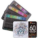 Zenacolor 60 Rotuladores Punta Fina 60 Colores Únicos - Boligrafo Fineliner 0,4 mm Colorear (Adultos y Niños), Dibujar, Manga, Mandalas y Lettering