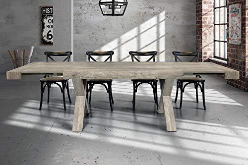 Milani Home s.r.l.s. Tavolo da Pranzo Moderno di Design ALLUNGABILE CM 90 X 180/230/280 Invecchiato...