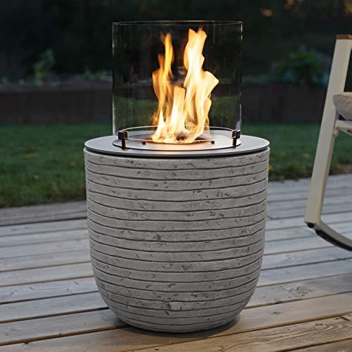 muenkel design Vagos – Stripes White/Grey – Bio-Ethanol Fire Pit Garden Torch Patio Fire with Round Burner 300 Chamber