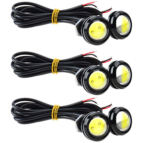 KAWELL Universale 6PCS Alta Potenza Bianco 9W LED Eagle Eye Ammortizzatore DRL Nebbia Luce di Giorno del Motociclo Brillante Positions della Coda di Sostegno della Luce Auto